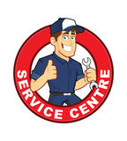 Mechanic Service Centre. Clipart picture of a mechanic service centre cartoon character Stock Photography