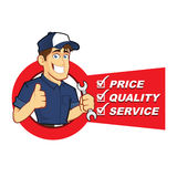 Mechanic with Service List. Clipart picture of a mechanic cartoon character with service list Stock Photos