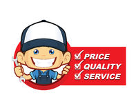 Mechanic with service list. Clipart picture of a mechanic cartoon character with service list royalty free illustration
