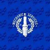 Mechanic service logo on seamless pattern checkered flag, vector illustration. For design Stock Photography