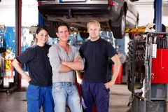 Mechanic Shop Portrait Stock Images