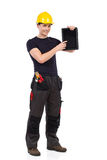 Mechanic showing a digital tablet Royalty Free Stock Photo