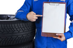 Mechanic showing empty copyspace Stock Photo