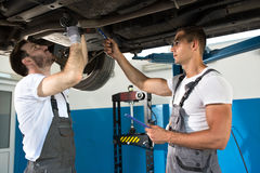 Mechanic shows defect and problems with car Royalty Free Stock Photo