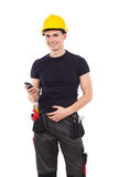 Mechanic with a smartphone Stock Photo