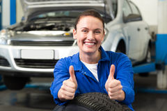 Mechanic smiling at the camera Stock Image