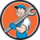 Mechanic Smiling Spanner Standing Circle Cartoon Royalty Free Stock Photography