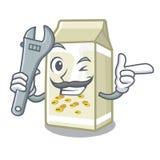 Mechanic soy milk poured in cartoon glass. Vector illustration stock illustration
