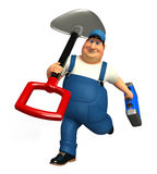 Mechanic with spade Royalty Free Stock Image