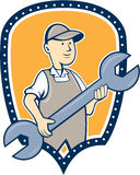 Mechanic Spanner Wrench Shield Cartoon Royalty Free Stock Photo