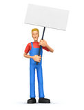Mechanic  standing with placards on the picket Royalty Free Stock Images