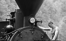 Mechanic steam train Stock Image
