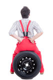 Mechanic suffering of lower back or lumbar area pain Royalty Free Stock Images