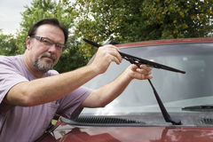 Mechanic Taking Worn Wiper Blade Off Royalty Free Stock Photo