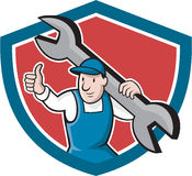 Mechanic Thumbs Up Spanner Shield Cartoon Stock Photography