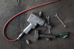 Mechanic tools. Fix mechanic tools in the garage Royalty Free Stock Image