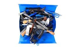 Mechanic tools from repairman in blue box Stock Photo