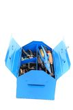 Mechanic tools from repairman in blue box Stock Photography