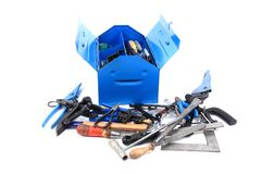 Mechanic tools from repairman in blue box Royalty Free Stock Images