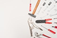 Mechanic tools set Many work to Working tools royalty free stock images