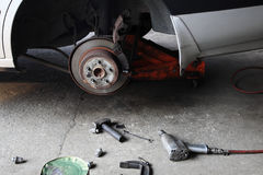 Mechanic tools to fix disk brake. Without tire Stock Image