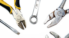 Mechanic tools on white Royalty Free Stock Image