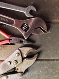 Mechanic tools. Wrench,block,adjustable wrench, all of tooling that is usually found in daily Stock Image