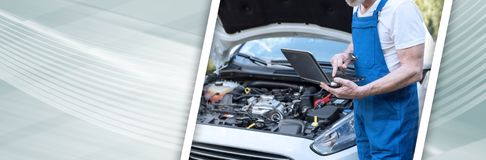 Mechanic using laptop for checking car engine. panoramic banner royalty free stock photos