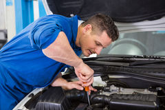 Mechanic using screwdriver on engine. At the repair garage royalty free stock image