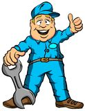 The Mechanic. Vector Illustration Cartoon of a Mechanic Ready for Work Royalty Free Stock Photos