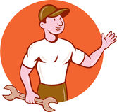 Mechanic Waving Circle Cartoon Royalty Free Stock Photo