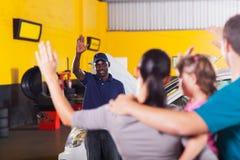 mechanic waving goodbye Royalty Free Stock Image