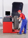 Mechanic wheel balancing tire machine Stock Photography