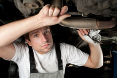Mechanic at work. Auto mechanic working under the car Royalty Free Stock Images