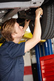 Mechanic at work. Underneath car royalty free stock photography