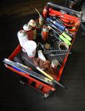 Mechanic Work Cart. This a rolling work cart of a typical automotive mechanic Royalty Free Stock Photos