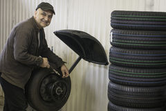 Mechanic at work. Mechanic changing tyres in garage royalty free stock photography