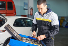 Mechanic at work shop Royalty Free Stock Photos