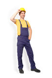 Mechanic worker standing isolated on background Stock Photo