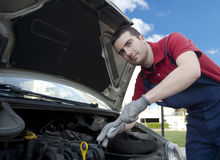 Mechanic working breakdown. Mechanic car service after vehicle breakdown Royalty Free Stock Photo