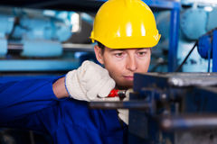 Mechanic working factory Royalty Free Stock Images