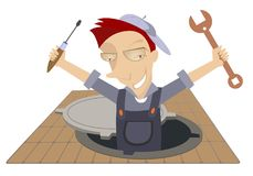 Mechanic working in the sewer manhole. Smiling worker with a spanner and screwdriver appears out from the sewer manhole Royalty Free Stock Image