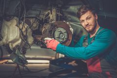 Mechanic in a workshop Royalty Free Stock Images