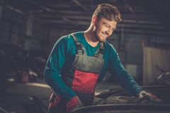 Mechanic in a workshop Stock Photo