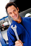 Mechanic with a wrench Royalty Free Stock Images