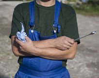 Mechanic with wrench Royalty Free Stock Images