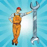 Mechanic with a wrench royalty free illustration