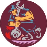 Mechanic Wrench Unscrewing Circle Woodcut Royalty Free Stock Image