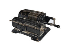 Mechanical adding machine. Old mechanical manual counting machine for mathematical calculations stock photos