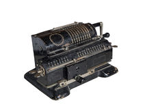 Mechanical adding machine. Old mechanical manual counting machine for mathematical calculations stock images